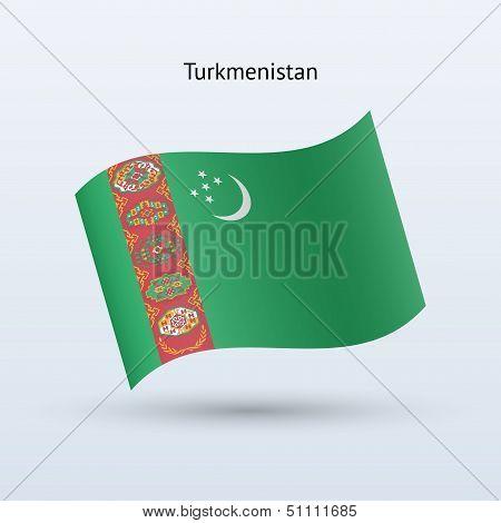 Turkmenistan flag waving form.