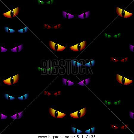 Halloween Ghost Eyes Seamless Background Vector