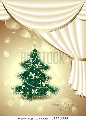 Christmas Tree with bows, stars, garland, light, drapes