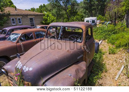 Junk Yard With Old Beautiful Oldtimers