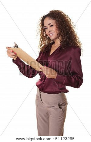 Woman Smiles With A Clip Board, Isolated White Background.