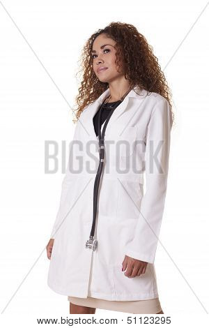 Latin Female Physician With Lab Coat And Stethoscope.