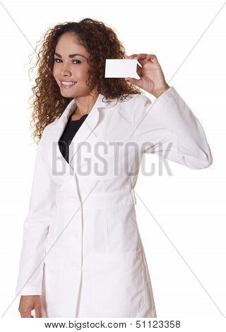 Female Doctorn Holds A Blank Business Card.