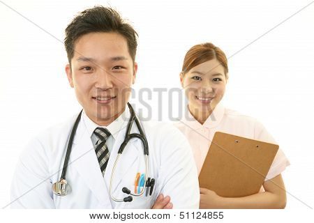 Smiling Asian medical staff