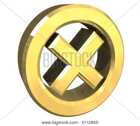 ko tick in gold - 3D