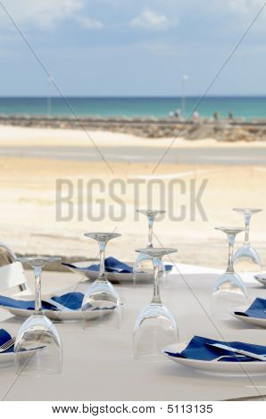 Table Set At The Beach