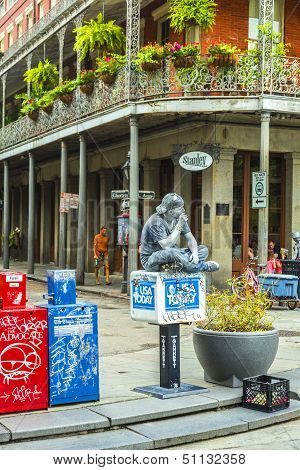 NEW ORLEANS USA - JULY 15, 2013: people work as pantomime to earn money from tourists at Jackson Square  in New Orleans.