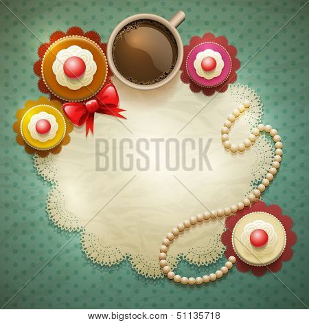 Vector cup of coffee and cakes on lace paper background with copy space for your text. View from above. Elements are layered separately in vector file.