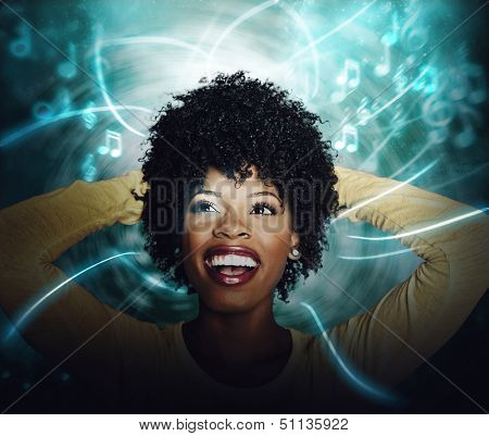 Beautiful African American Young woman listening to online streaming music