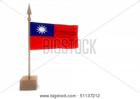 Myanmar waving flag isolated on white
