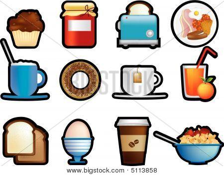 Breakfast Icons Black Outline