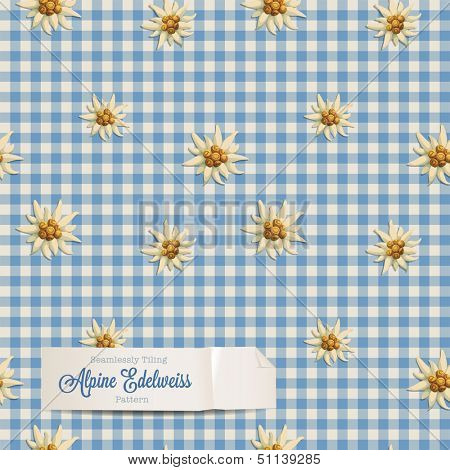 tiling alpine pattern with edelweiss flowers