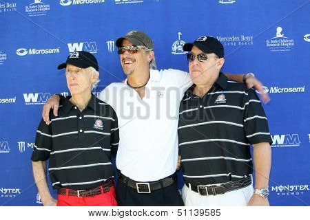 MOOREPARK, CA - SEPT 16:  Robby Krieger, Brett Scallions & Scotty Medlock arrive at the 6th Annual Scott Medlock & Robby Krieger Golf Invitational & All-Star Concert on Sept.16, 2013 in Moorepark CA.
