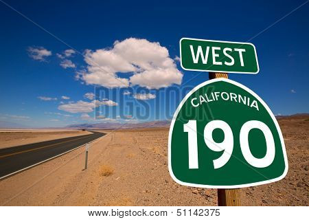 Desert Route 190 highway in Death Valley California road sign illustration