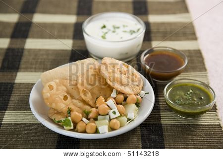 Dahi Bhalle Chaat Or Stuffed Panipuri With Curd And Sweet Tamarind, Indian Dish