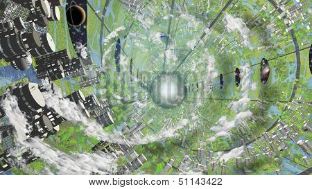Multi Generational Colony Space Craft Interior also known as Oneil Cylinder