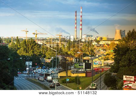 KRAKOW, POLAND - SEP 5: Top view of the industrial district, Sep 5, 2013 in Krakow, Poland. As of 2013 Krakow is the 4th industrial city in country, dominated metallurgy, tobacco and pharmaceuticals