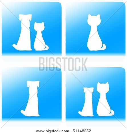 pet silhouette - dog and cat on button