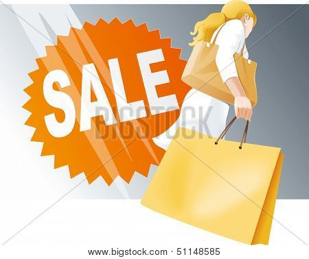 Shopping woman with bags, Sale sign on shop window. Vector illustration