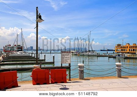 PENANG, MALAYSIA - APRIL 2012 : The Malaysias first inner city marina (Tanjong City Marina), Penang Wharf  in Penang, Malaysia on April 18, 2012. It is formerly known as the Church Street Pier.