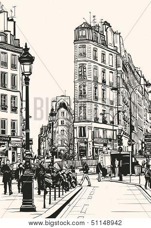 Vector illustration of old Paris near Saint Denis