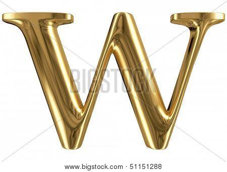 Golden font type letter W, uppercase