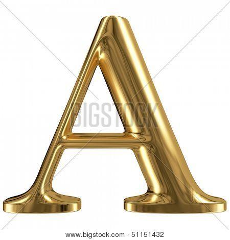 Golden font type letter A, uppercase