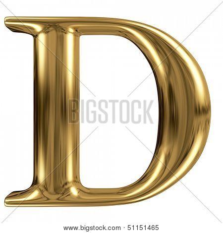 Golden font type letter D, uppercase