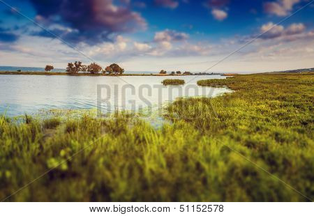 Beautiful view of sinuous river in summer. Southern Buh River, Ukraine, Europe. Beauty world. tilt-shift effect