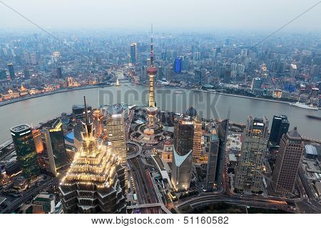 Bird View Of Shanghai At Dusk