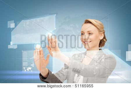 future technology and internet concept - attractive woman working with virtual screen