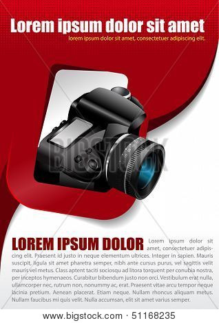 Vector photographic background with the camera in the rectangle and place for text