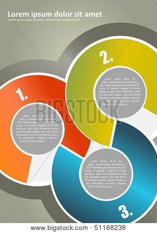 Vector abstract brochure background with three colored circles with numbers and place for texts