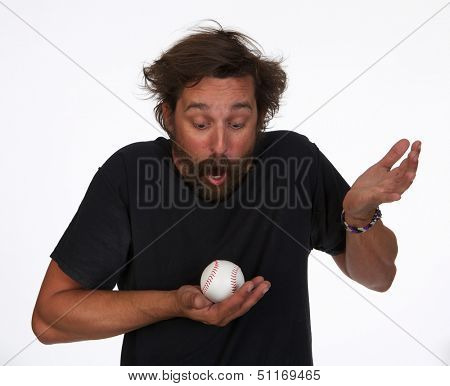 Happy Baseball Fan Who Caught a Foul Ball on White Background