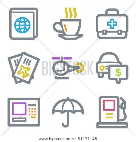 Travel web icons set 4, color line contour series