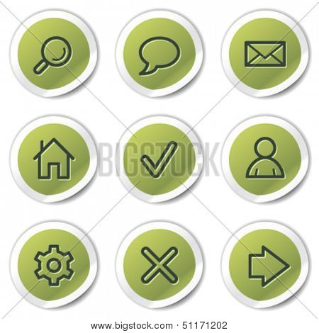 Basic web icons, green circle stickers