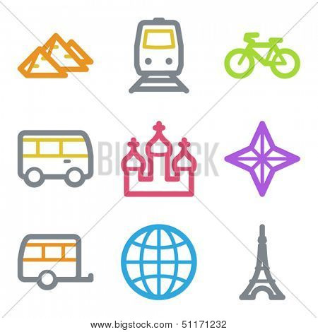 Travel web icons set 2, color line contour series