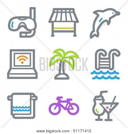 Vacation web icons, color line contour series