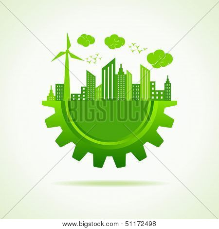 Eco a cityscape with gear