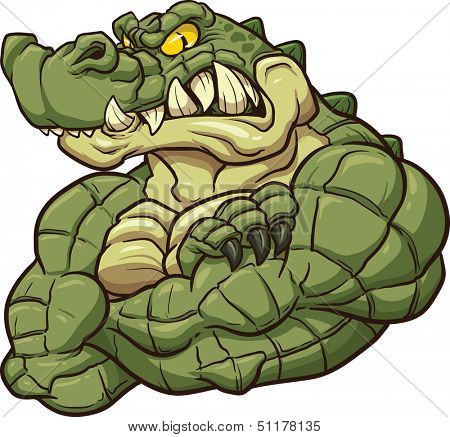 Strong angry alligator mascot. Vector clip art illustration. All in a single layer.
