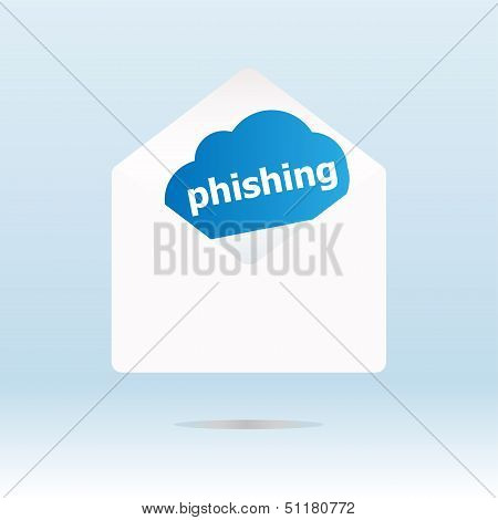 Phishing On Blue Cloud, Paper Mail Envelope