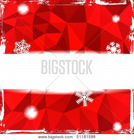 Red triangle grunge christmas background with banner and snowflakes