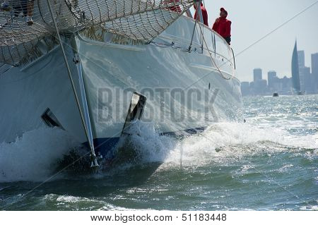 SAN FRANCISCO, CA - SEPTEMBER 13: Super yacht Adela competes in a regatta during the America's Cup in San Francisco, CA on September 13, 2013