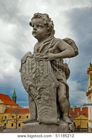 Sculpture Of Cherub In Prague, Czech Republic