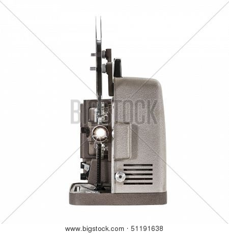 Lit vintage movie film projector isolated with clipping path.
