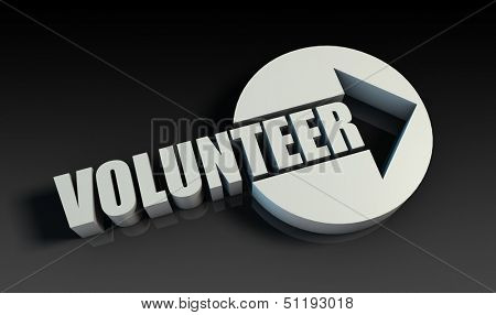 Volunteer Concept With an Arrow Going Upwards 3D