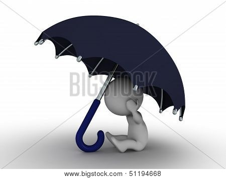 3D Man Hiding Under Umbrella - Security Concept