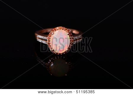 Opal With Diamonds Ring