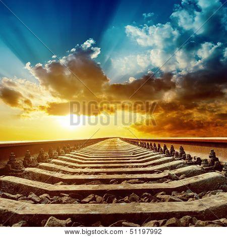 magic sunset over railroad to horizon