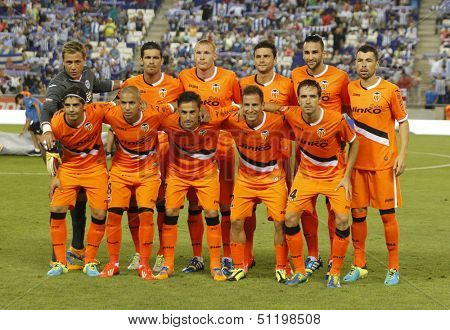 BARCELONA - AUG, 24: Valencia CF Team posing before a Spanish League match against RCD Espanyol at the Estadi Cornella on August 24, 2013 in Barcelona, Spain